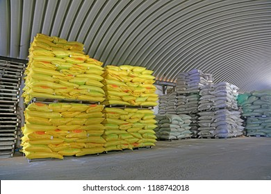 Piles of feed products are in storage.