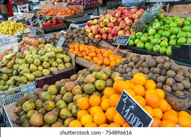 Piles of fruits for sale at a market in Valparaiso, Chile