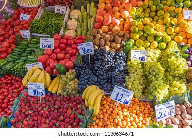Piles of fruits and vegetables for sale at a market in Istanbul, Turkey