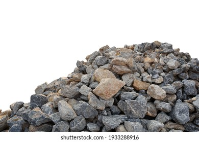 Piles of gravel limestone rock on construction site, isolated on white background with clipping path.