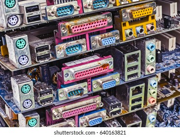 Piles of old computer motherboards