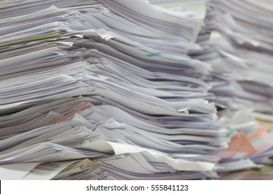 Piles of paper.