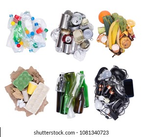 Piles of rubbish isolated on white background, top view