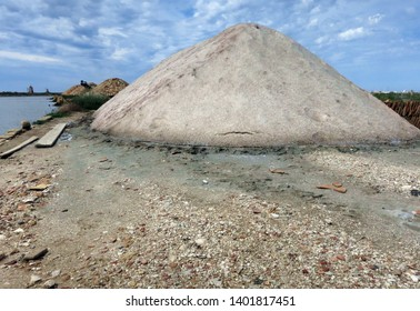 Piles of salt in the Oriented Natural Reserve of the Salinas of Trapani on the island of Sicily