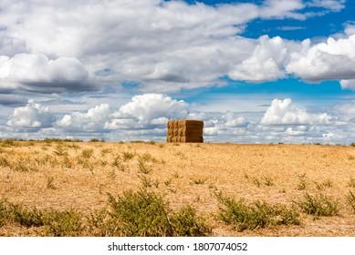 Montones de paja, agricultura en verano, paisaje rural.
