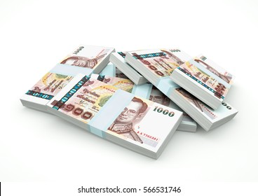 Piles of Thailand Money isolated on white background