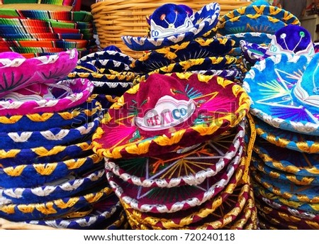 759f78ba Piles of traditional colorful Mexican sombrero hats, souvenirs sold in  Cancun, Playa del Carmen