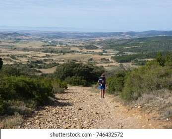 Pilgrim along the way of St. James. Woman walking on Camino de Santiago.
