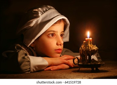 Pilgrim Girl and Candle