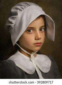 Pilgrim Girl. Imitation of antique painting with cracks.
