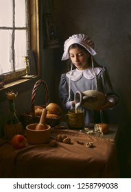 Pilgrim girl in old house