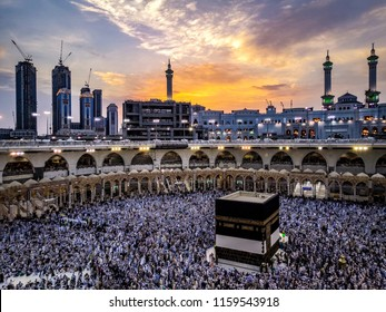 Pilgrim at Holy Kaabah during Sunset