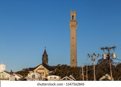 Pilgrim Monument Tower against blue sky background, Provincetown, Cape Cod, MA