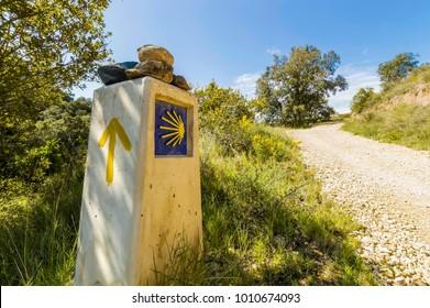 Pilgrim sign on Camino de Santiago, Spain