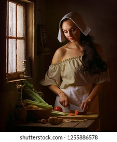 Pilgrim woman is cooking in the kitchen