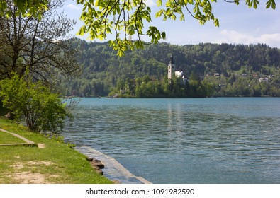 Pilgrimage Church of the Assumption of Mary on Bled Island, Slovenia, seen from the shoreline