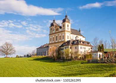 Pilgrimage church Maria Plain on Plainberg in Bergheim bei Salzburg, Austria. Mozart sometimes  played music at Maria Plain during Sunday mass.