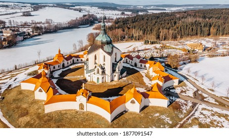 Pilgrimage Church of St John of Nepomuk at Zelena Hora,Czech republic, is the masterpiece of architect Santini Aichl.Czech cultural heritage and UNESCO World heritage monument.Baroque Gothic in Europe