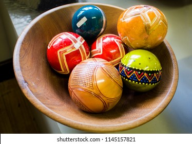Pilgrim's Rest, South Africa - December 31, 2015: African balls for the decor in the local shop. Ethnic art of tribes  Zulu, Xhosa, Ndebele, Sesotho, Basotho. Easter gifts.