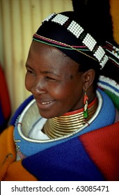 PILGRIM'S REST, SOUTH AFRICA - MAY 13 : Ndebele woman wears traditonal costume in local festival 13, May 2002. Pilgrim's Rest, RSA. Ndebele are from the  Nguni ethnic group living in South Africa.
