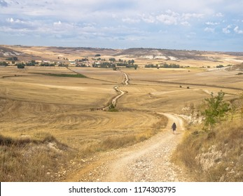 Pilgrims walk across the Meseta (central plateau) towards Hornillos del Camino - Castile and Leon, Spain