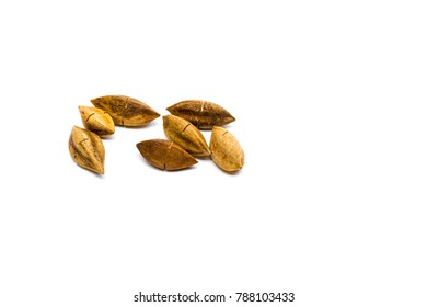 Pili nuts on white background