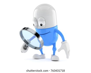 Pill character looking through magnifying glass isolated on white background. 3d illustration