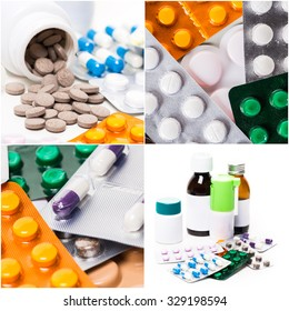 Pill packs and medicine bottles collage