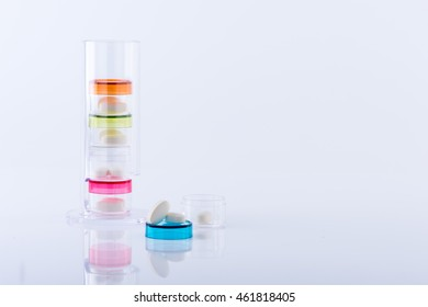 Pill stack  on white background.