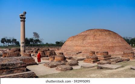 The Pillar of Ashoka at Vaishali, India