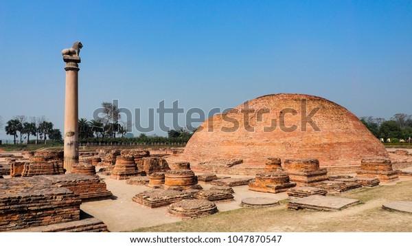 El pilar de Ashoka en Vaishali, India