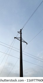 Pillar.  Pole with electric wires. Electrification facility