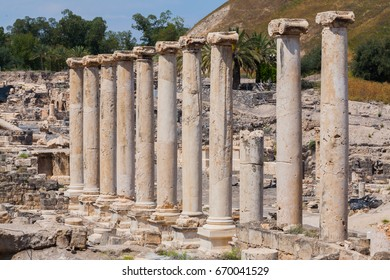 Pillar Row in Beit She'an Archaeological Site Israel Palestine