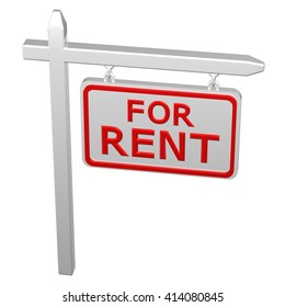 Pillar with sign for rent, isolated on white background. 3D rendering.