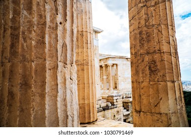 Pillars of Acropolis of Athens, Greece