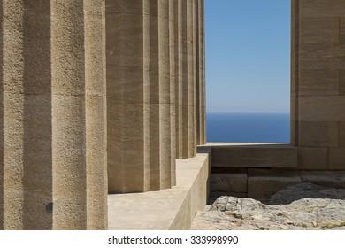 pillars of Acropolis in Lindos, Rhodes Island