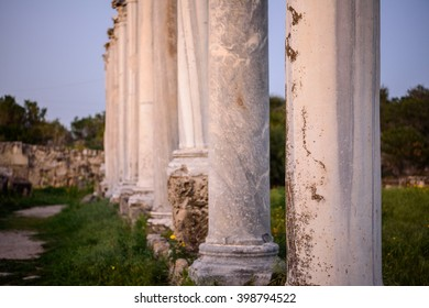 Pillars in ancient city of Salamis located in eastern part of Cyprus.