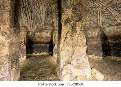 Pillars in an ancient tomb, National Archeological Park of Tierradentro UNESCO World Heritage Site, Colombia, South America