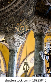Pillars and arches in Hagia Sophia, Istanbul, Turkey