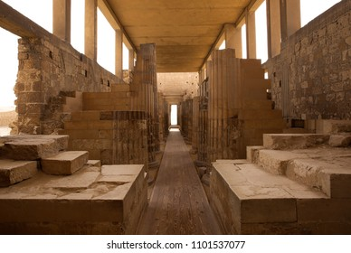 Pillars and chambers in the Roofed colonnade entrance of Step Pyramid complex