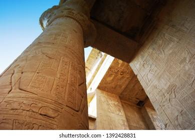 The Pillars at the Edfu Temple, Nubia, Egypt