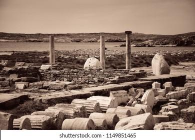 Pillars in historical ruins in Delos Island near Mikonos, Greece.