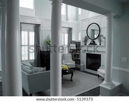 Pillars Leading Into Living Room Fire Stock Photo Edit Now 5139373