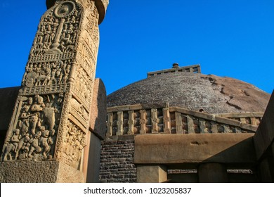 Pillars of sanchi, A part of The Great Sanchi Stupa, Buddhist Architecture at sanchi, Madhya Pradesh, India