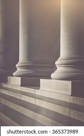 Pillars and Stairs to a Courthouse with Vintage Style Filter