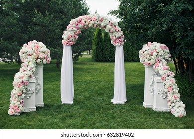 Wedding altar images stock photos vectors shutterstock pillars stand on both sides of arch made for wedding altar junglespirit Gallery