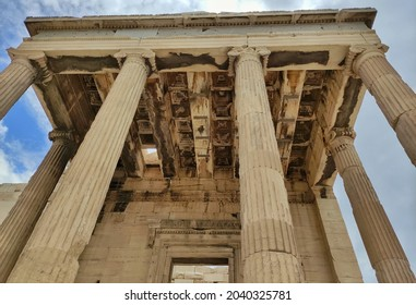 The pillars of the temple of goddess Winged Nike in Akropolis of Athens.