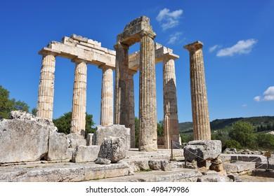 Pillars of the temple of Zeus in the ancient Nemea, Greece