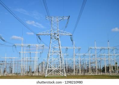 "Pillars and wires of New Voronezh Nuclear Power Plant. New Voronezh town (russian ""Нововоронеж""), Voronezh Region, Russia."