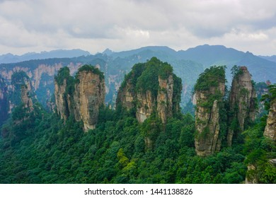 """Pillars in Zhangjiajie National Park, Wulingyuan Scenic Area, China. Some of these mountains inspired the floating Hallelujah Mountain in the movie """"Avatar"""""""